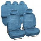 Car Seat Covers Low Back 9 pc Set Padded Blue Encore Cloth Accessories