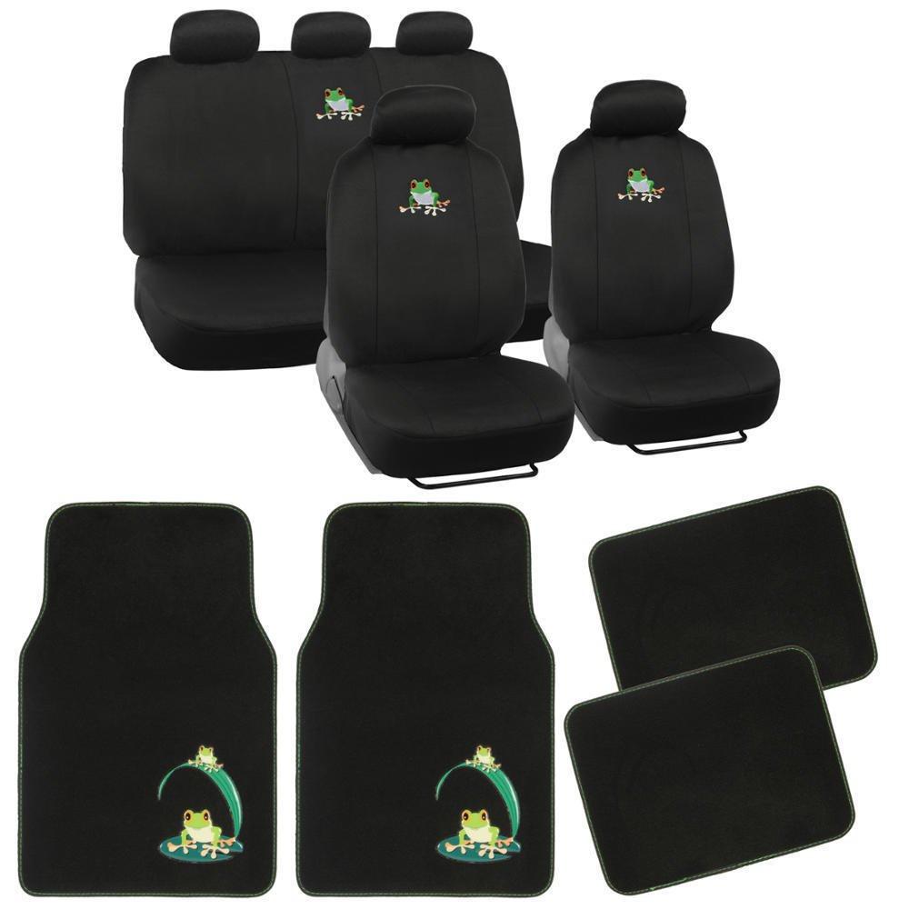Frog Seat Covers & Floor Mats Combo Bundle Green on Black Flat Cloth
