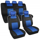 11pc Seat Covers Mesh Black and Blue Sporty Two Tone Set Steering Wheel Pads