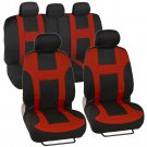 OEM Red on Black Striped Car Seat Covers Auto Interior Monaco Sporty Mesh Cloth