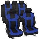 New BDK Monaco Racing Style Seat Covers Front and Rear Complete Set Blue