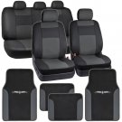 Dark Gray on Black PU Leather Seat Covers for Car with Vinyl Trim Floor Mats
