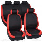 Flat Cloth Car Seat Covers Black and Red Detail Stitching Split Option Bench 9pc