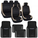 OEM Beige on Flat Black Cloth Car Seat Covers Accent Design w Floor Mats SUV Car