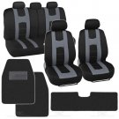 Complete Set Gray Stripe Car Seat Covers Solid Hefty Mats Black Front and Rear
