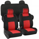 OEM Black and Red Seat Covers for Car Auto Polyester Cloth Integrated Headrests