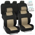 Car Seat Covers Beige Black Polyester Cloth Front and Rear Split Bench 9pc Set