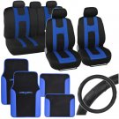 Blue Rome Sport Car Seat Cover 2 Tone Car Floor Mat Ergo Steering Wheel Cover