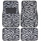 Supreme Zebra White  4 Piece Plush High Quality Car Auto Carpet Floor Mats