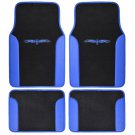 Blue on Black Striped Car Seat Covers Auto SUV Sport Mesh Cloth With Two Tone Mat