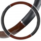 "OEM Big Rig Steering Wheel Cover 18"" Dark Wood Grain Luxury Syn Leather Snug Fit"