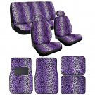Oem Car Seat Covers & Floor Mats Leopard Purple 13 Pc Set with Head Rest for Auto