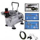 3 Airbrush And Compressor Kit Dual-Action Spray Air Brush Set Tattoo Nail Art OY