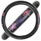 Universal Fit 1 Piece Flower Line Design Plush Steering Wheel Cover