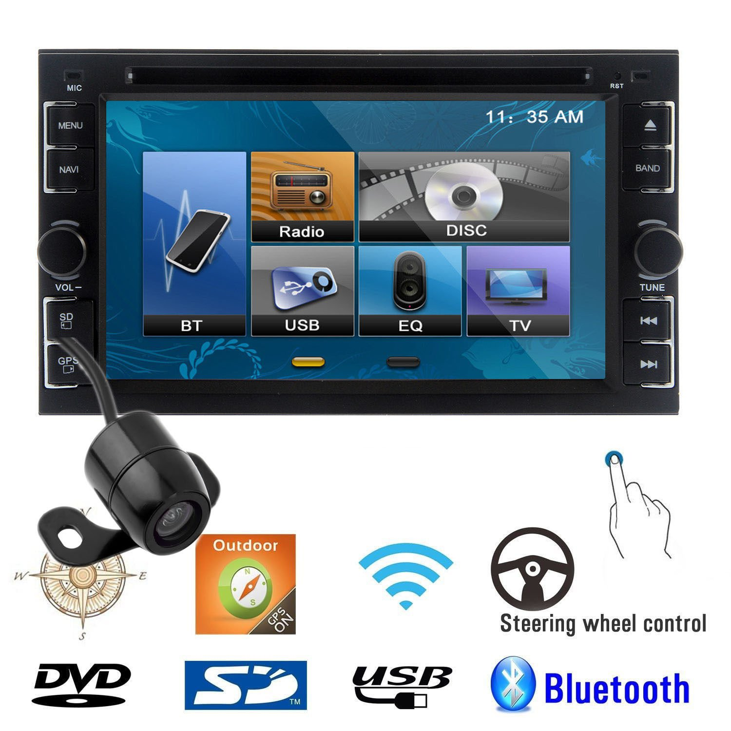 62 inch car stereo dvd player bluetooth ipod mp3 tv gps