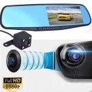 4.3 HD 1080P Dual Lens DVR Dash Recorder Cam Monitor Car Rearview Mirror USA OY