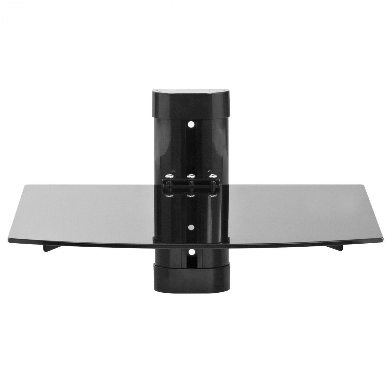 glass shelf wall mount under tv cable box component dvr dvd bracket black oy. Black Bedroom Furniture Sets. Home Design Ideas