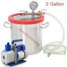 3 CFM Vac Pump  2Gallons Vacuum Chamber Degas Silicone Liquid Expoxy Resin US H