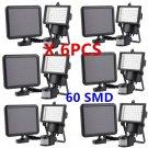 6 Pack 60 SMD LED Solar Powered Motion Sensor Security Light Flood Light Lamp OB
