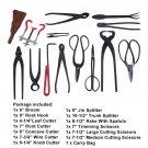 14 pcs Bonsai Tool Set Broom Root Hook Splitter Rake Cutter Scissors With Bag OY