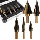 5PCS Large Step Down Variable Size Steel Drill Bit Uni bit Set Tool w Case BY