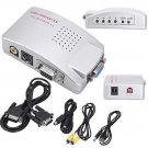 Computer VGA to TV RCA Composite Converter Adapter S-Video Box PC Laptop LCD