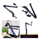Desk Mic Microphone Suspension Boom Scissor Arm Stand Shock Mount Adjustable