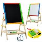 Adjustable Children Kids 2 In 1 Black White Wooden Easel Chalk Drawing Board