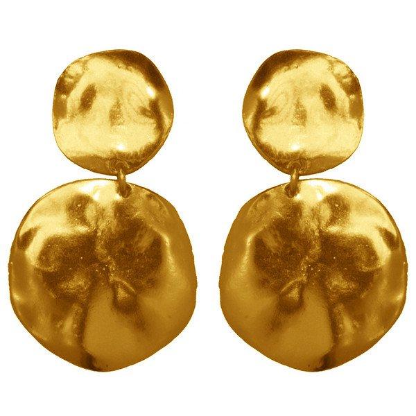 Earrings LOLA, Hammered Double Medal, Karine Sultan