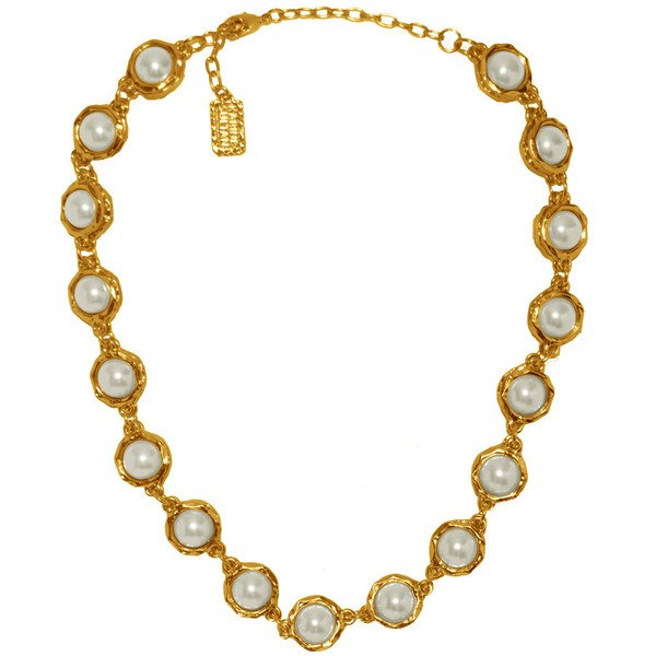Necklace JEANNE, White Glass Pearls Encased in Textured Chain