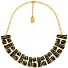 Necklace LOUISY, Modern Black Enamel Geometric Choker, Karine Sultan