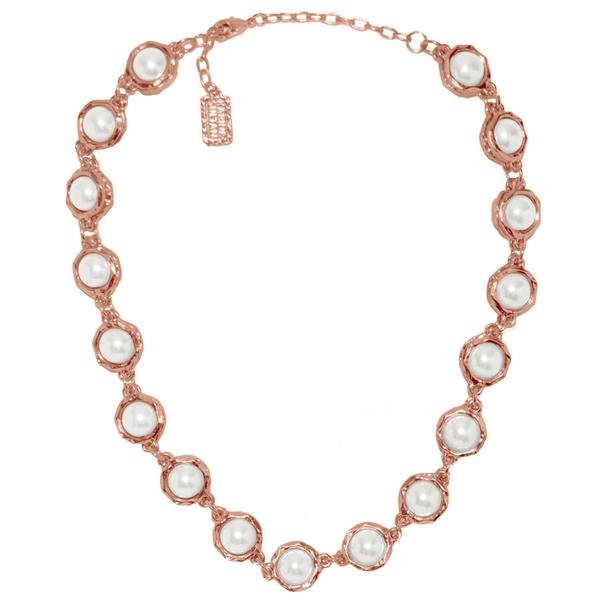 Karine Sultan The Jeanne White Glass Pearls Encased in Textured Chain