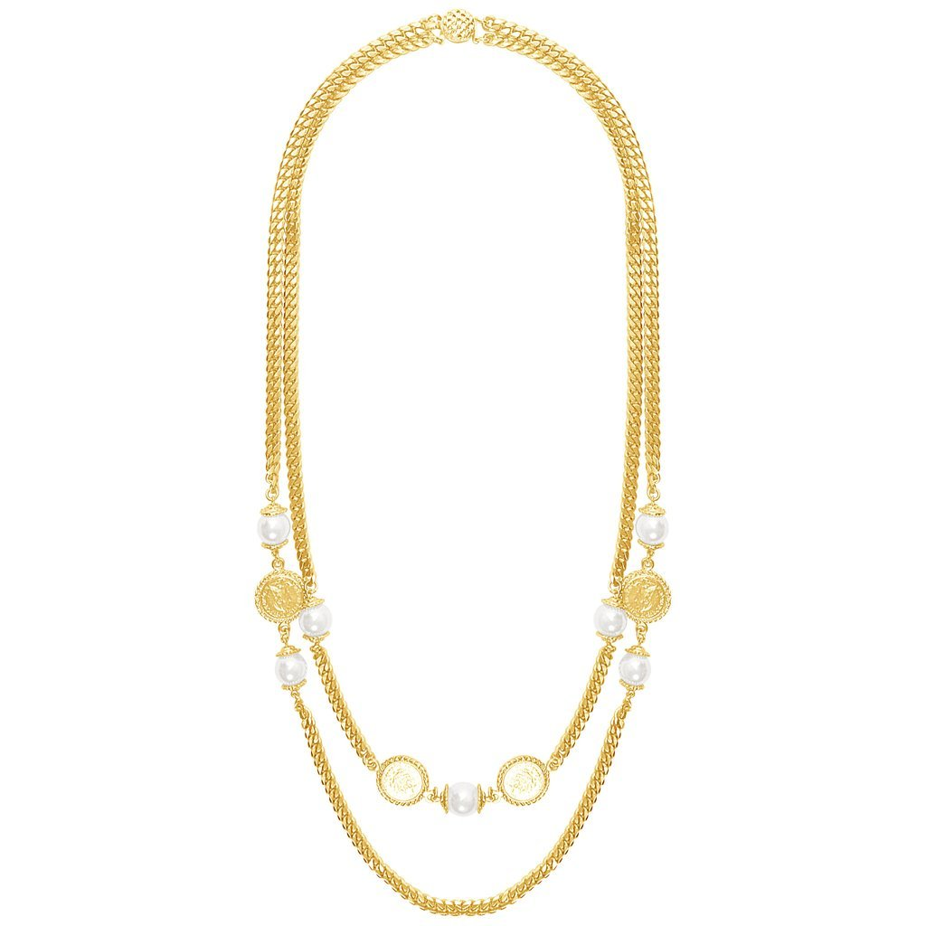 The Gabrielle Multi Strand Long 24KT,Gold Plated Necklace