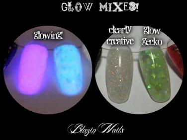 'glow gecko' glitter acrylic mix glow