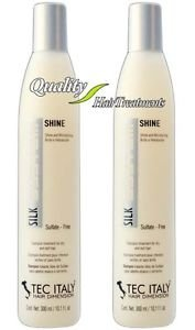 2 Bottles Tec Italy Silk System Shine Sulfate Free Shampoo Hair Treatment 10.1oz