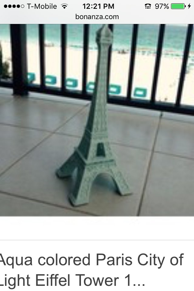 Eiffel Tower with LED tea light glow turquoise colored
