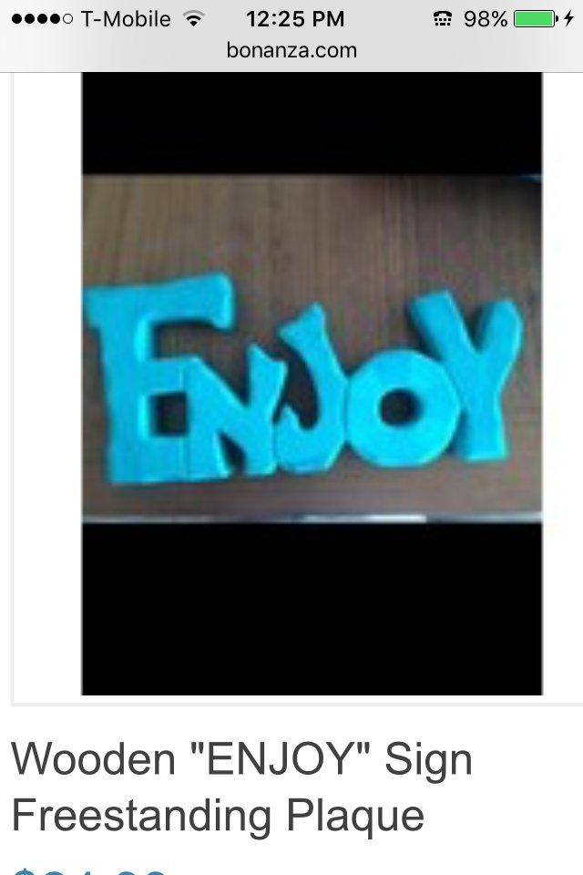"wooden enjoy freestanding beach art home decor turquoise colored 12"" X 5"""