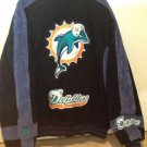 NFL Miami Dolphins Suede Bomber Flight Jacket, Size XL navy blue