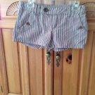 Women's Roxy Striped Shorts Brown Pink Blue White Size 3