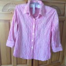 Women's Pink & White Checkered Fitted Blouse Size 6 by Foxcroft