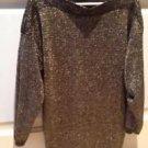 Woman's Gold & Black Size Xl Sparkling Knit Top