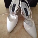 Women's shoes Stuart Weitzman sling back white satin size 9 b rhinestone