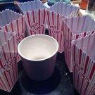 ceramic popcorn bowl & 6 red striped plastic popcorn holders