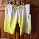 Women's Board Shorts Yellow & White By Miss Mod Volcom Size 1