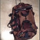 brown dufflebag with wheel frame & handle beautiful condition