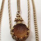 » 1940'S Triple Strand Necklace And Pendant Vintage Jewelry Beautifully Detailed
