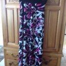 Women's full length pink & black print skirt size large by sweet storm