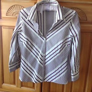 Women's Plum Striped Blouse Petite Stretch Size 12P by Worthington Easy Care