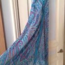 turquoise t hemline print dress size large by Charlotte Russo