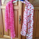 set of 2 scarves: hugs n kisses and hearts scarf so pretty in pink